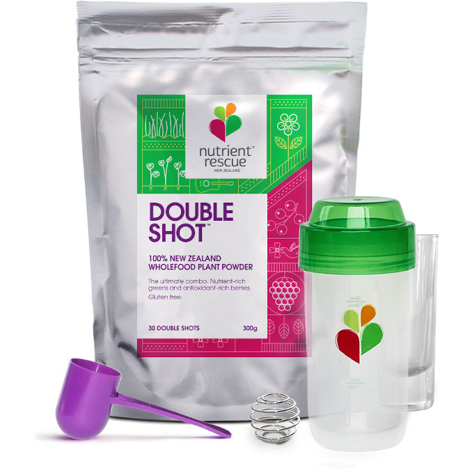 Get 4 serves of veges and fruit with our powdered shots
